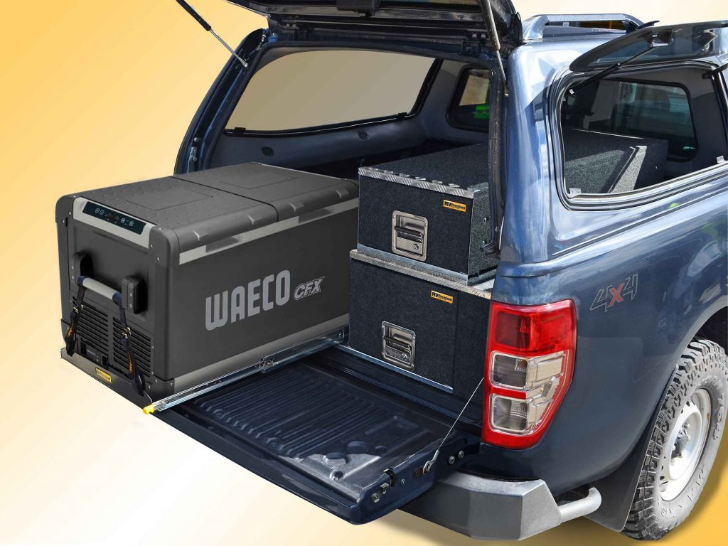 FS-2.5 fridge slide with Waeco CFX 95 fitted to EAC-2 double stack drawer system in the PX Ranger ute.
