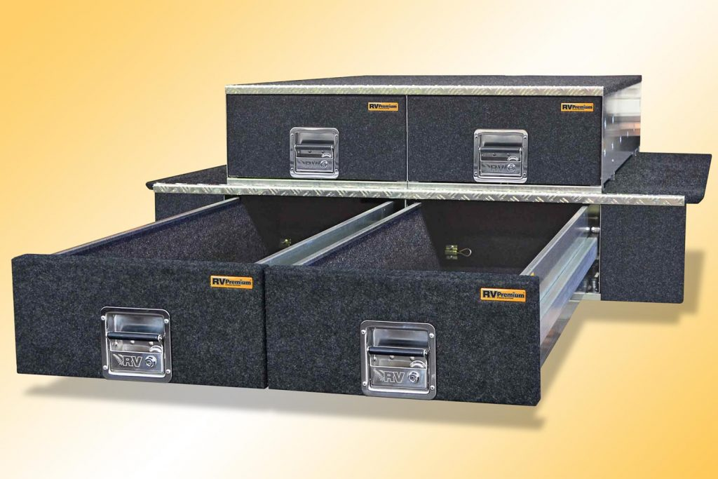 DOUBLE STACK MODULAR DRAWERS -  2 x 2 Premium Twin Modules fitted with wing kit on the lower modules.