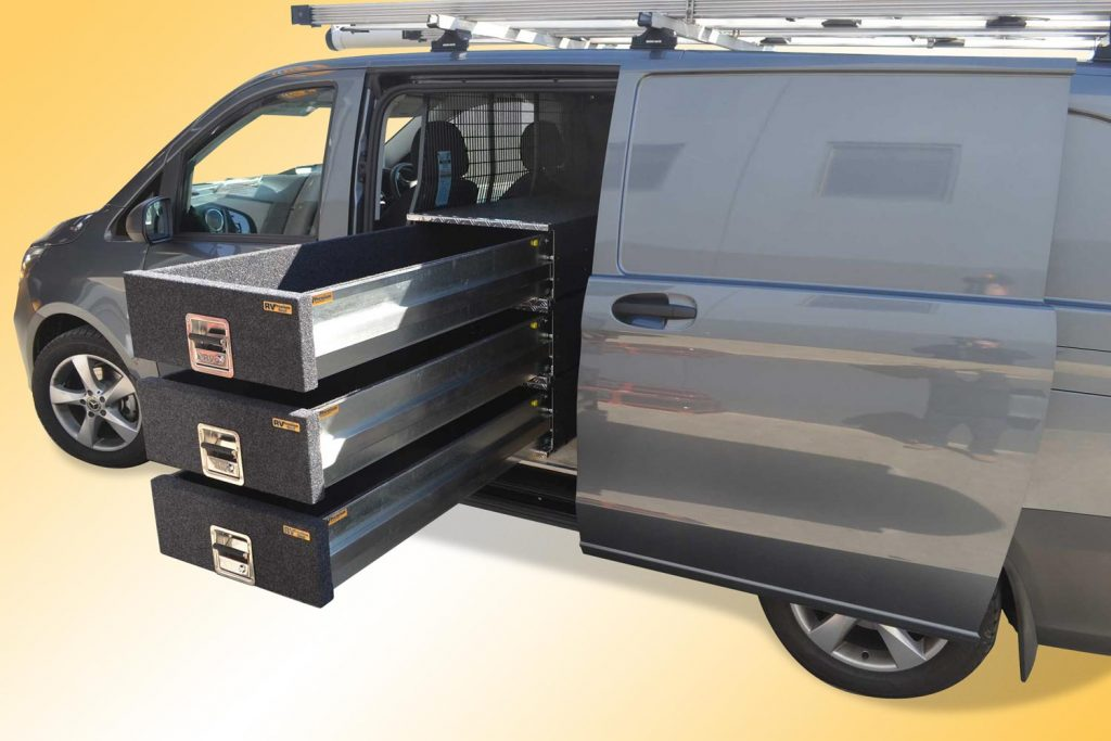 Mercedes Vito Van fitted with a triple stack of L1500 x W570mm Premium Modules. Wow that's great storage access!